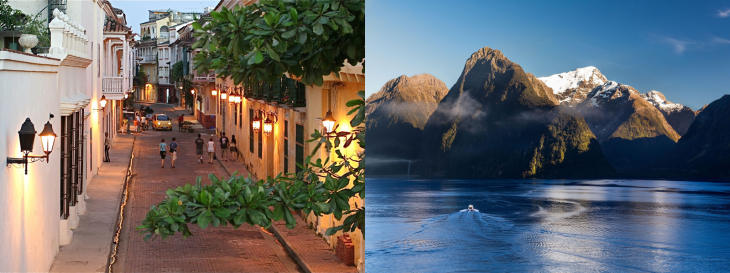 Cartagena and Milford Sound, New Zealand. Pictures from conde Nast