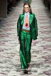 GUCCI - I dont know if i love this or hate it yet, but it definitly made me consider that we should all have a bright shinny green suit in our closet no?