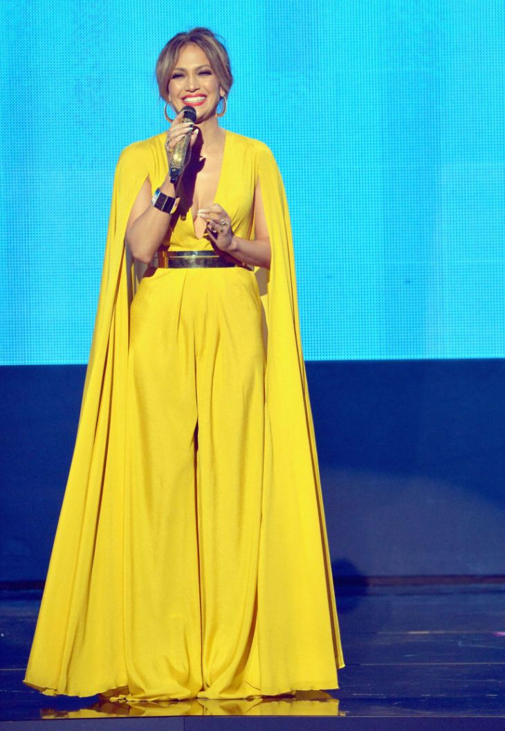 Jlo yellow cape dress
