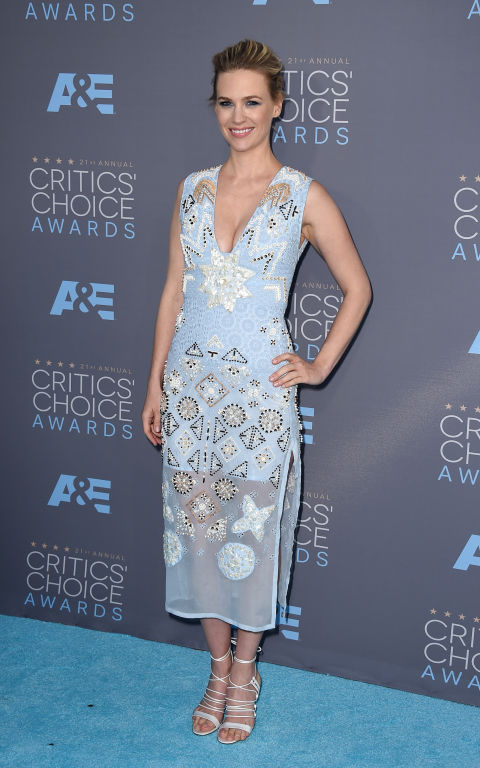 ANUARY JONES In Altuzarra dress and Bionda Castana shoes