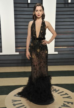 Lilly Collins in Elie Saab