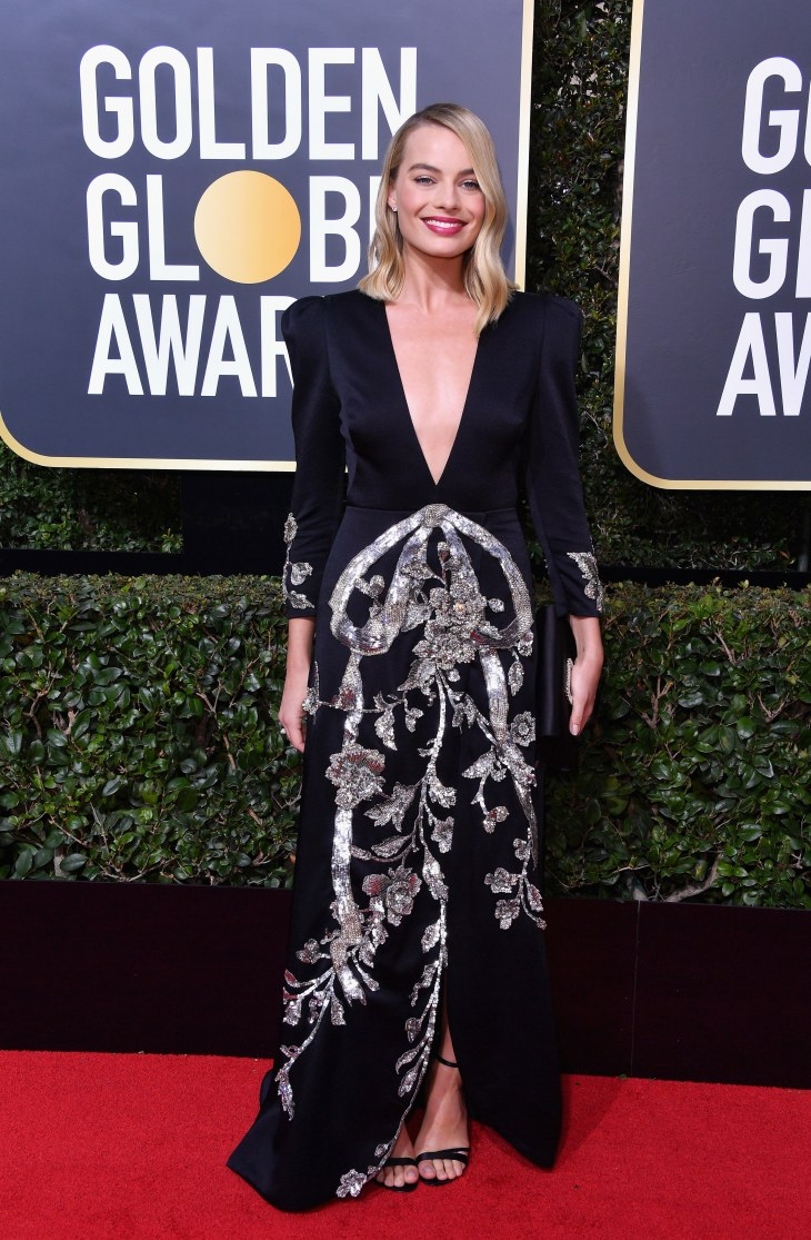 Margot Robbie in Roger Vivier and Gucci with Tiffany & Co. jewelry